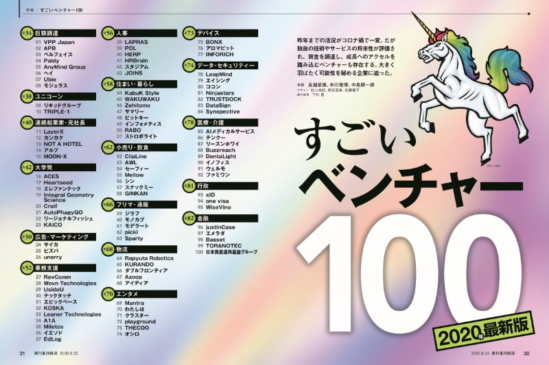 "Selected as a Unicorn company by Weekly Toyo Keizai ""The Best Startups 100""."